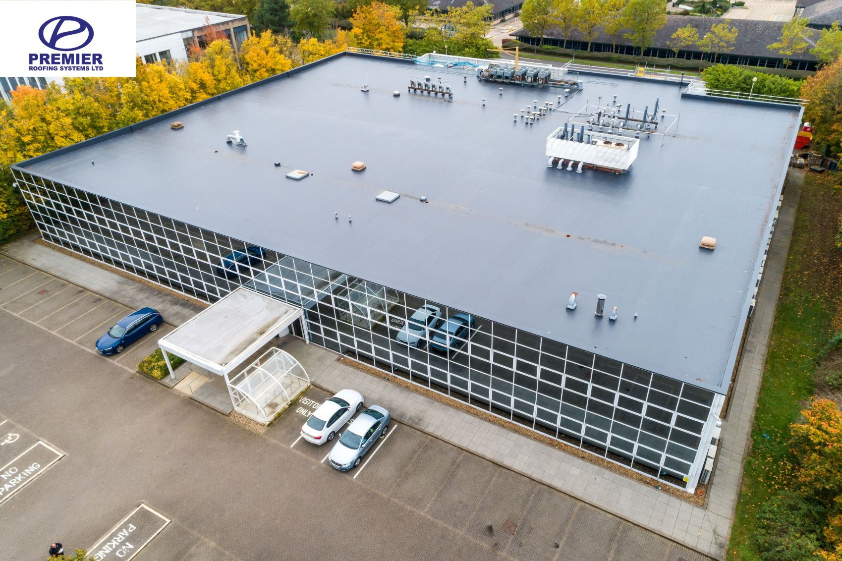 Aerial photo of roof taken from a drone