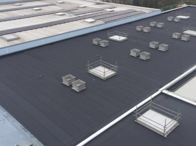 Industrial scale black flat roofing