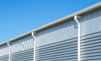 Guttering on a silver building