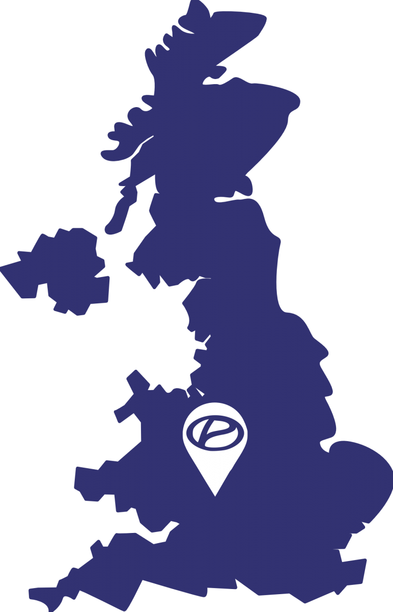 UK map with a pin on Coventry
