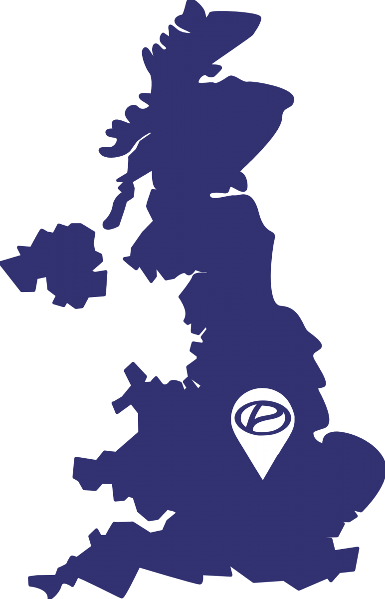 UK map with a pin on Corby