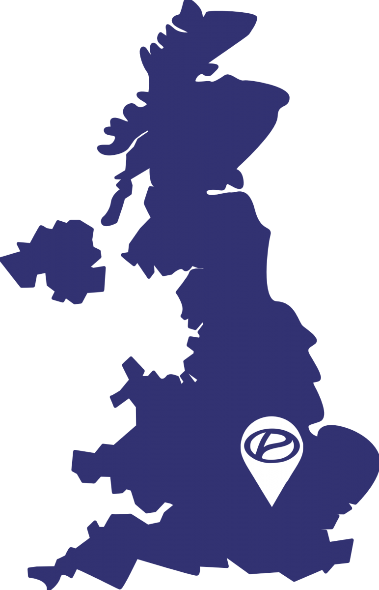 UK map with a pin on London