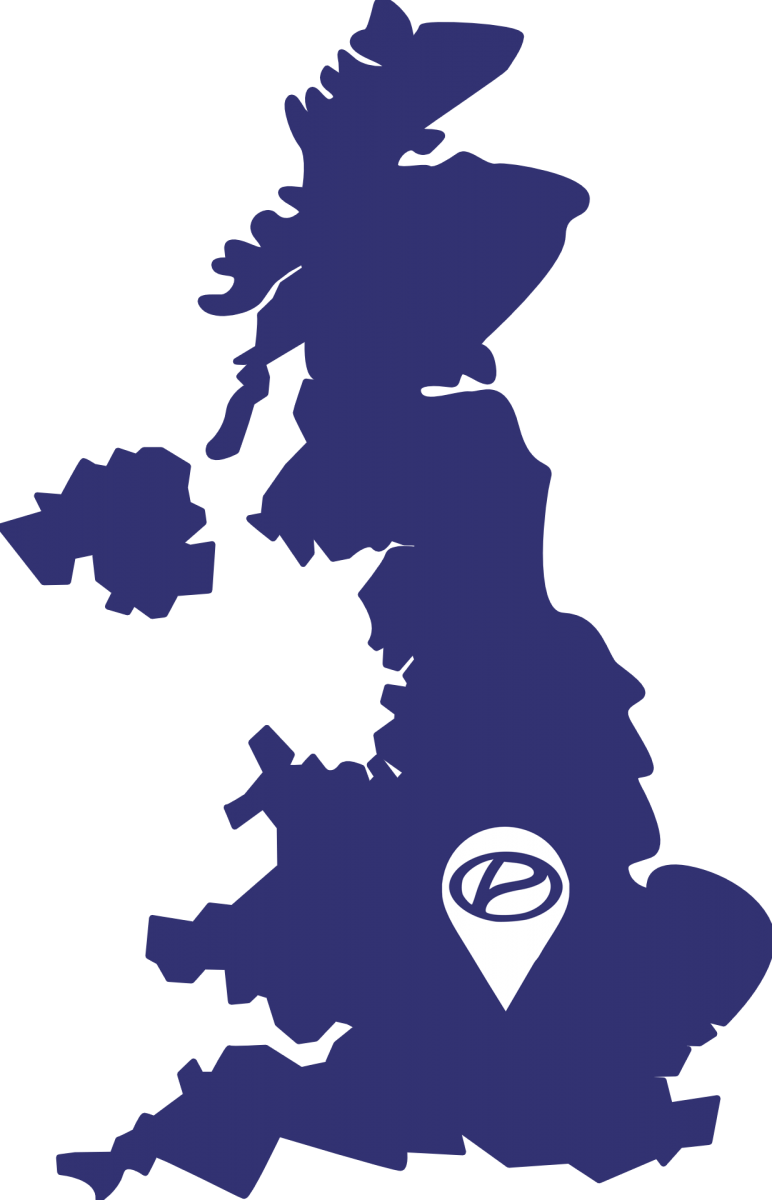 UK map with a pin on Milton Keynes