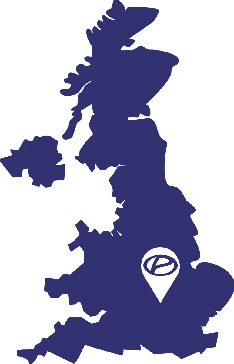 UK map with pin on Northampton